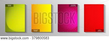 Tech Point Faded Screen Tone Front Page Templates Vector Kit. Corporate Poster Perforated Screen Ton