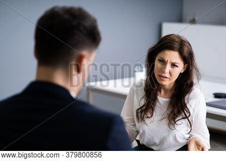 Psychiatric Woman Patient Treatment By Psychotherapist Man