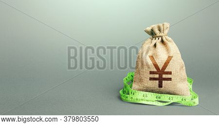 Yen Yuan Money Bag And Measuring Tape Meter. Analysis Of The Economic Situation. Assessment Of Capit