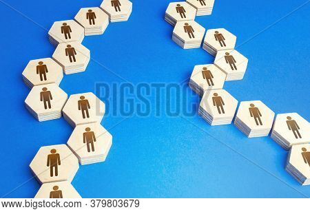 Chains Of Connected People. Communication. Cooperation, Collaboration. Chain Reaction, Spread Of Inf