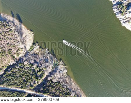 Aerial Top View Of Speed Boat On Lake Hodges, Water Activity In Rancho Bernardo East San Diego Count