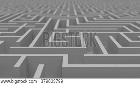 Huge White Grey Maze. Сhoices And Challenge Theme. Сomplex Way To Find Exit, Business Concept Or Edu