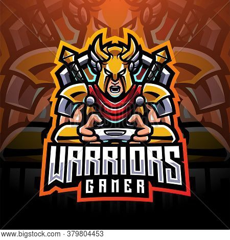 Warrior Gamer Esport Mascot Logo With Text