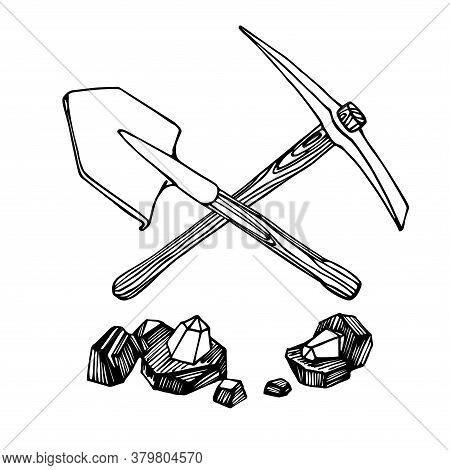 Pickaxe, Shovel & Pieces Of Coal With Diamond Gemstones, Mining Tool, Treasure Hunting Logo Or Emble