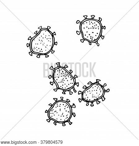 A Set Of Coronavirus Cells Under A Microscope, Dangerous Microorganisms, Vector Illustration With Bl