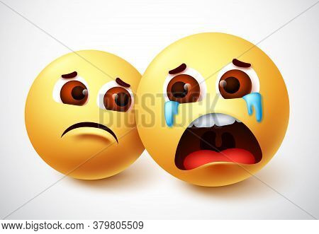 Emoji Of Lonely Friend Vector Character Design. Crying Emoji With Presence Of Friend With Lonely Fac