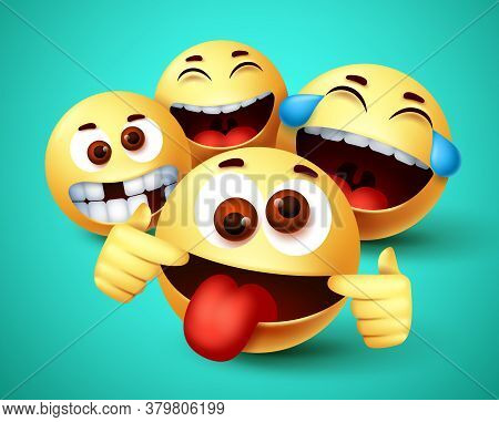 Emoji Funny Friends Taking Selfie Vector Characters. Emoji Of Friendship Emoticon In Happy Smiling,