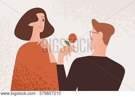 Man Admirer Giving Red Rose To Attractive Woman Vector Flat Illustration. Enamored Guy Making Presen