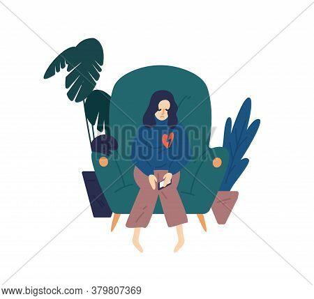 Upset Woman With Broken Heart Hold Smartphone Vector Flat Illustration. Heartbroken Female Sit On Ar