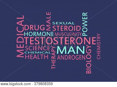 Tags Cloud Of Hormone Testosterone. Words Collage.