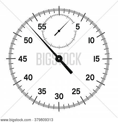 Mechanical Stopwatch Dial With Hands. Countdown, Speed Measurement. Black And White Vector