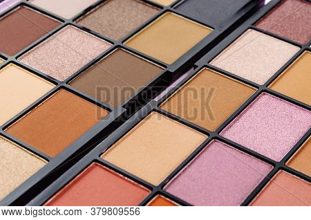 Close Up Colorful Of Eyeshadow Palette Cosmetic.