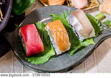 Sashimi Sushi Set Table In Japanese Restaurant.