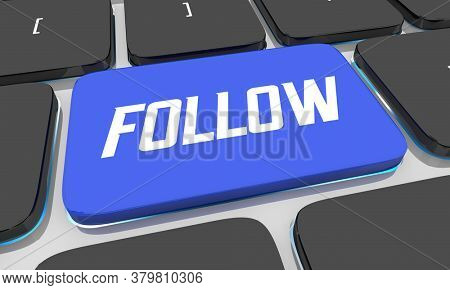 Follow Button Computer Keyboard Like Subscribe Social Influencer 3d Illustration