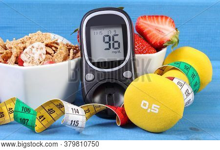 Glucometer With Result Of Measurement Sugar Level, Healthy Food, Dumbbells For Fitness And Tape Meas