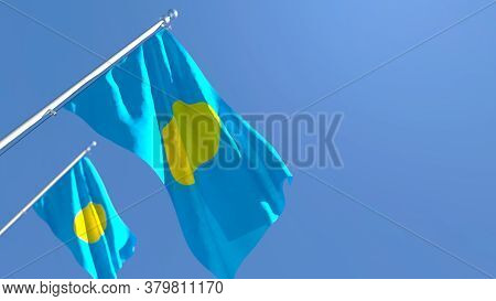 3d Rendering Of The National Flag Of Palau Waving In The Wind