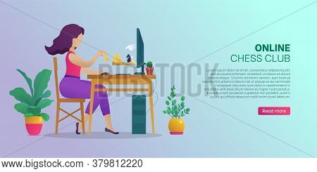 Online Chess Club Web Banner, Landing Page. Woman Sitting In Front Of Computer Screen Playing Strate