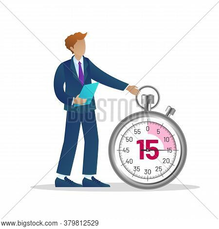 Office Time Management. Businessman Standing At Huge Stopwatch. Business Process Optimisation, Time