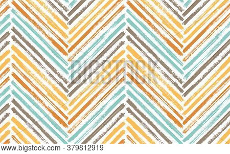 Simple Zig Zag Fashion Print Vector Seamless Pattern. Ink Brushstrokes Geometric Stripes. Hand Drawn