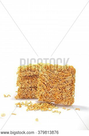Instant Noodles Easy To Cook, Cheap Food On A White Background.use Lights And Flash For Contrast.