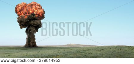 Explosion, Nuclear Bomb Test In A Deserted Steppe.