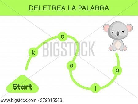 Deletrea La Palabra - Spell The Word. Maze For Kids. Spelling Word Game Template. Learn To Read Word