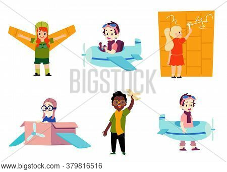 Children Playing Airplane Pilot Game - Isolated Cartoon Set Of Kids