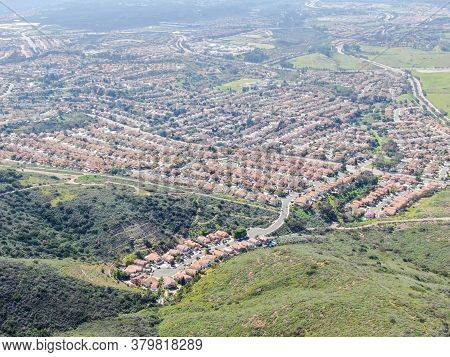 View From The Top Of The Black Mountain Of Carmel Valley Suburban Neighborhood On The Background. Sa