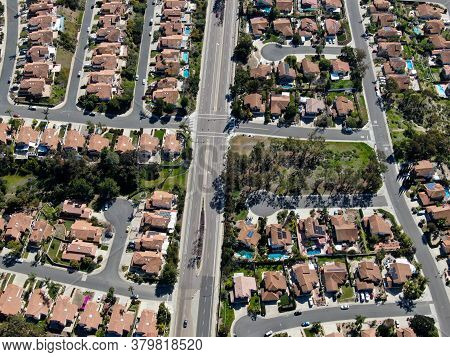 Aerial View Suburban Neighborhood With Big Villas Next To Each Other In Black Mountain, San Diego, C