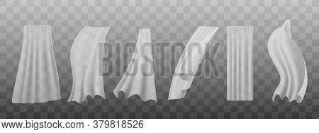 White Silk Curtain Set Hanging And Flowing In The Wind - Realistic Vector Illustration