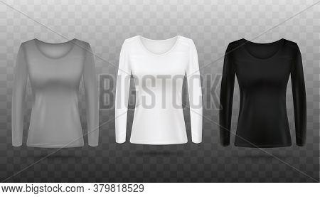 Grey, White And Black Womens Long Sleeve Shirt Mockup Set