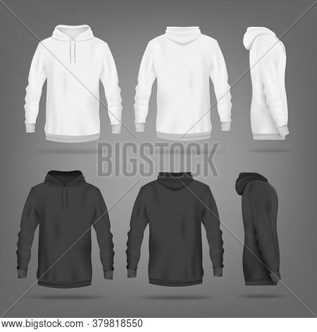 Black And White Hoodie Mockup Set - Isolated Sport Apparel Design Template
