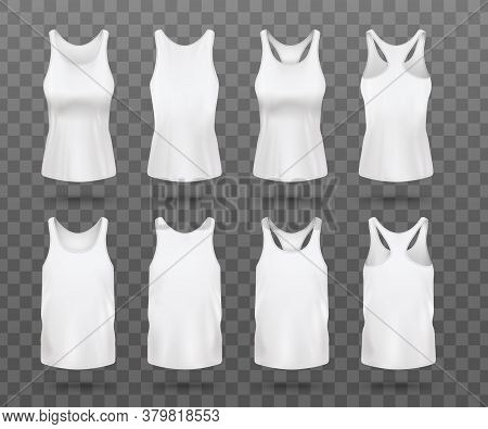 Realistic White Womens Tank Top Mockup Set From Front And Back View
