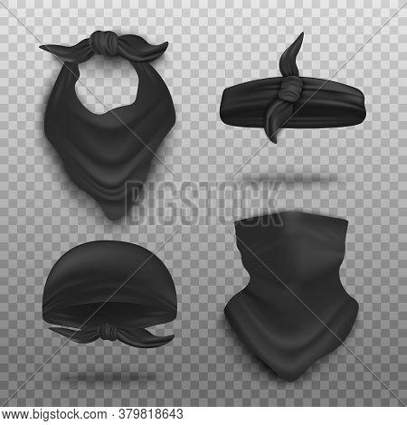 Realistic Black Bandana Mockup Set - Neck Scarf, Headband And Face Cover