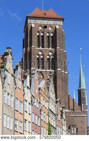 16th Century Brick Gothic St. Mary's Church, Exterior, Gdansk, Poland.