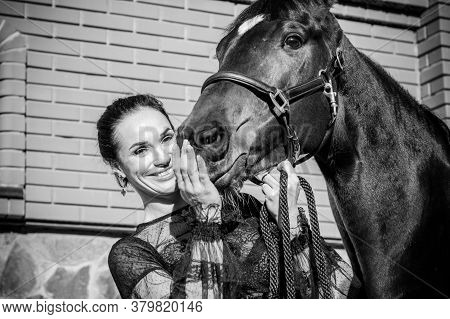 Rider Elegant Woman Talking To Her Horse. Portrait Of Riding Horse With Woman. Equestrian Horse With