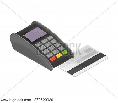 Card Reader Reading Credit Card Information As Payment Transaction Vector Isometric Illustration