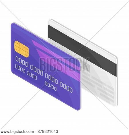 Plastic Credit Or Debit Card As Payment Method Vector Isometric Illustration
