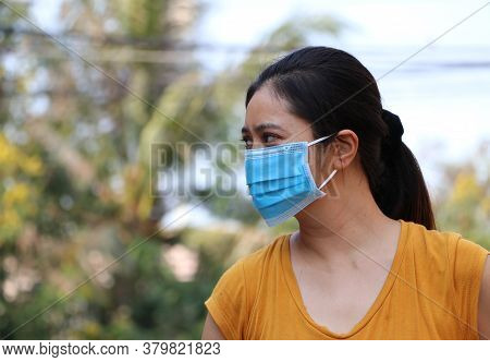 Masked Asian Woman Prevent Germs. Tiny Particle Or Virus Corona Or Covid 19 Protection. Concept Of C