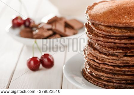 Close View On Brown Pancakes, Selective Focus