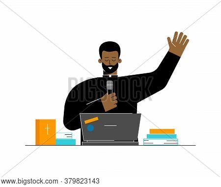Vector Flat Concept. Protestant Priest Is African American Man. Pastor Preaches And Speaks With Beli