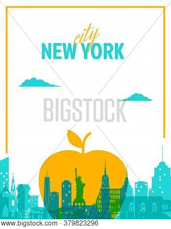 New York Landscape And Big Apple - Symbol Of The City In Paper Cut Style. Vector Nyc City Card Illus