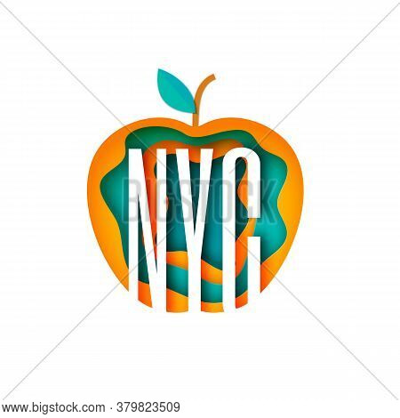 New York City Abbreviation In Apple Form Frame In Paper Cut Style Cut Out Capital Letters Nyc Silhou