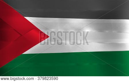 Colorful Ribbon As Palestine National Flag, A Horizontal Tricolor Of Black White And Green With A Re