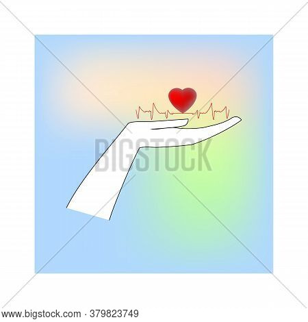 Heart And Electrocardiogram On Palmin Colorful Square. Symbol Ambulance, Diagnosis, Protect, Healthy