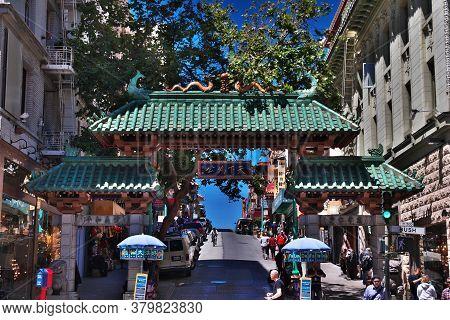 San Francisco / United States - 13 Jul 2017: Chinatown In San Francisco, West Coast, United States
