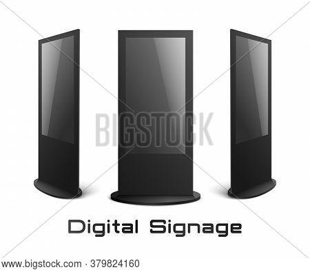 Digital Signage - Black Interactive Kiosk Mockup Set With Blank Screens Isolated On White Background