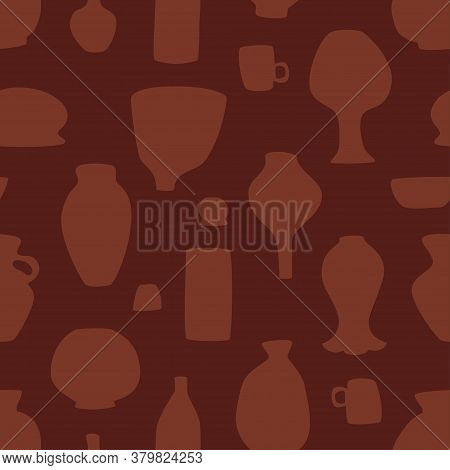 Pottery Seamless Pattern In Dark Brown Color. Vector Scalable Design.
