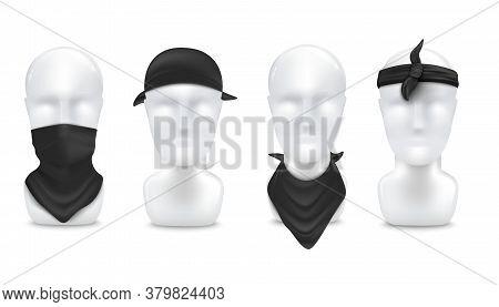 Black Bandana On Neck And Head Set, Realistic Vector Illustration Mockup Isolated.