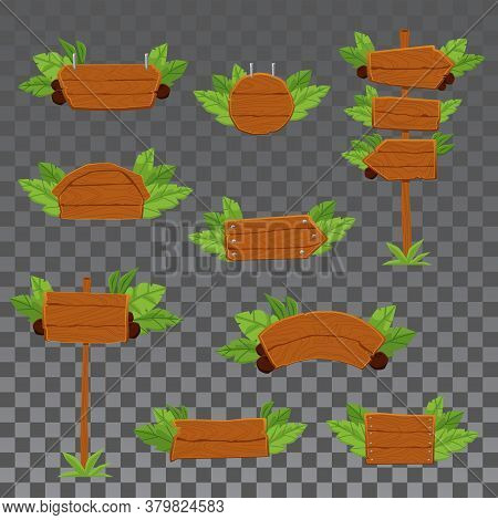 Wooden Roadsigns Arrows And Signboards Set Vector Illustration Isolated.